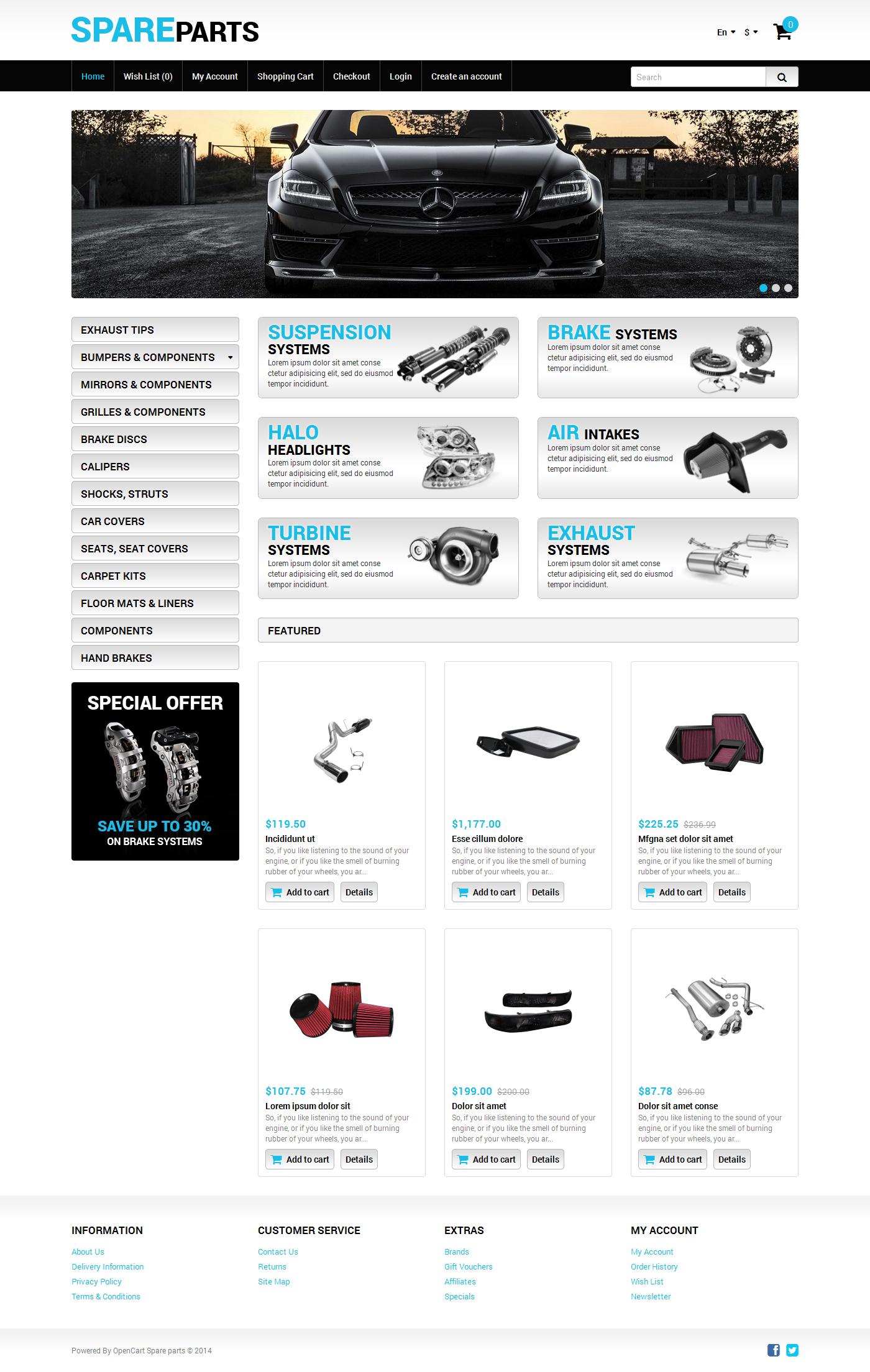 Plantilla OpenCart #49310 para Sitio de Repuestos de coches