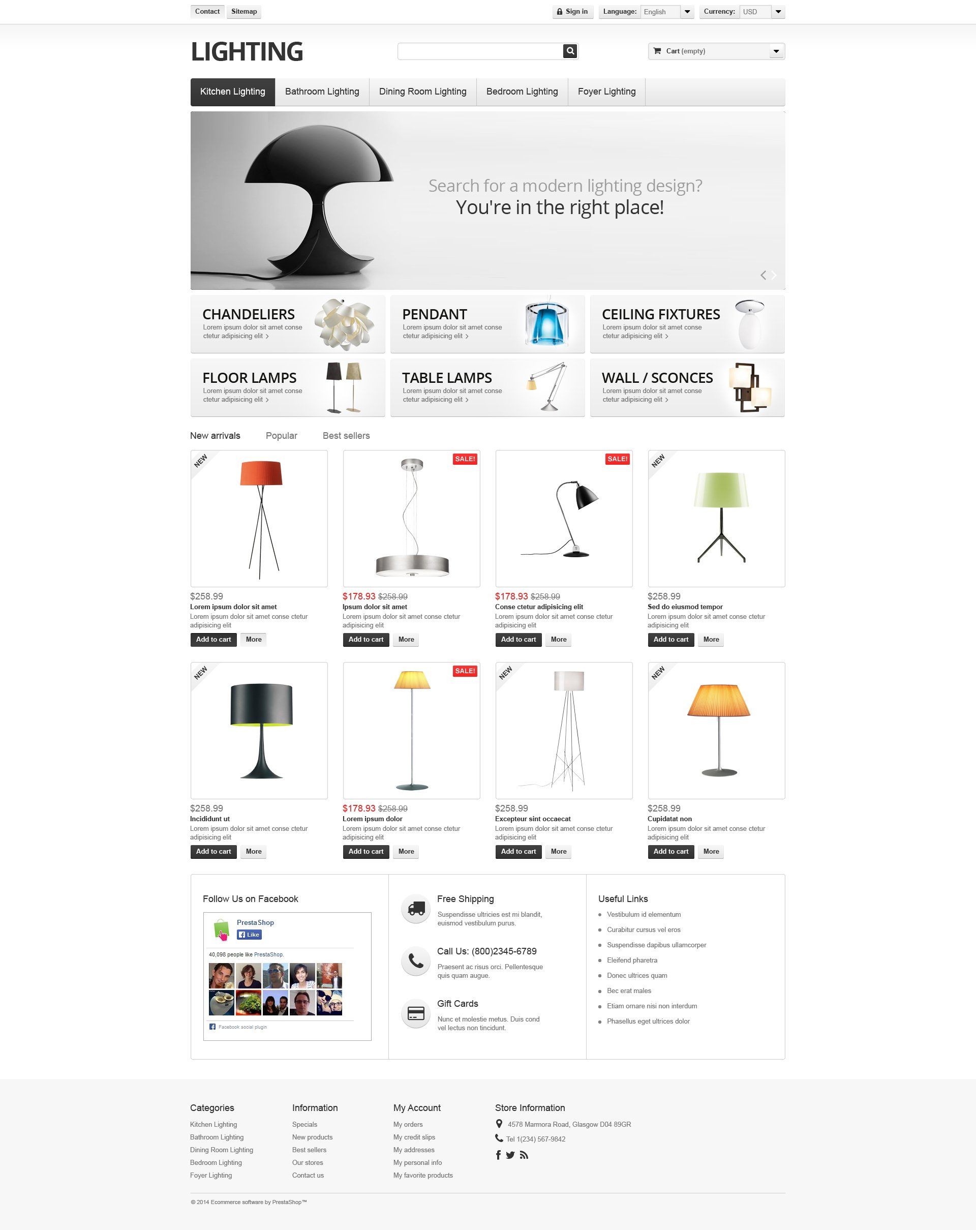 "PrestaShop Theme namens ""Lighting  Interior"" #49395"