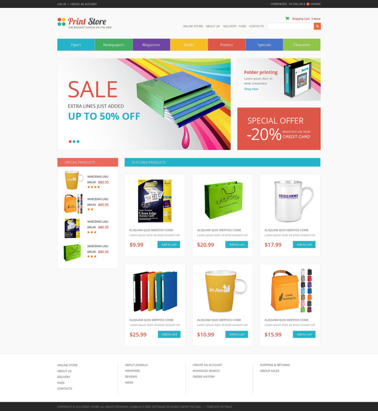 Print Store VirtueMart Template New Screenshots BIG
