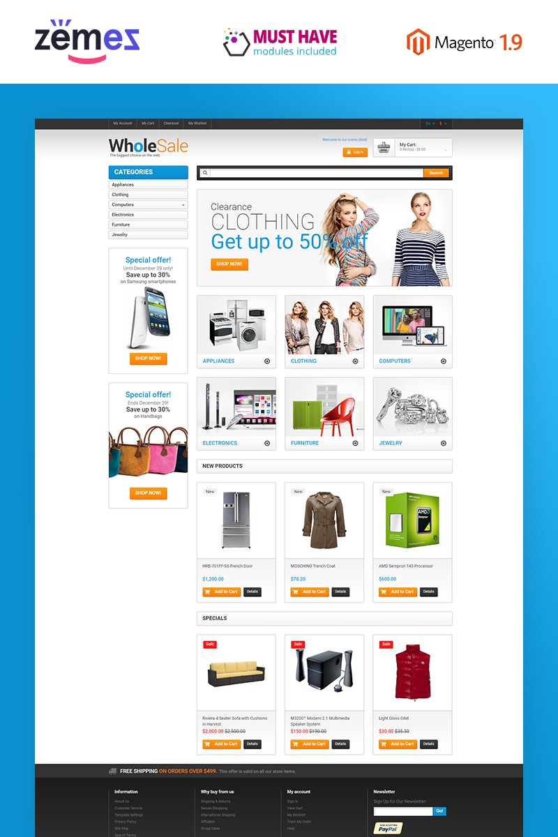 Responsive Elektronik Mağazası Magento #49368