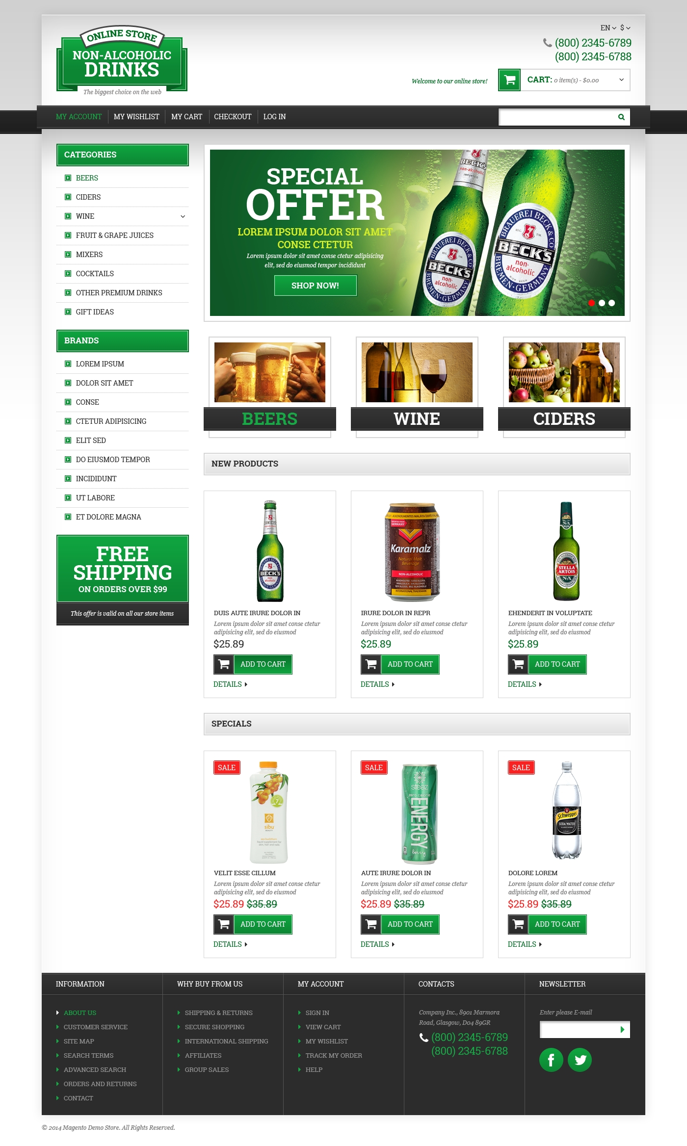 Responsive Magento Thema over Wijn №49364 - screenshot