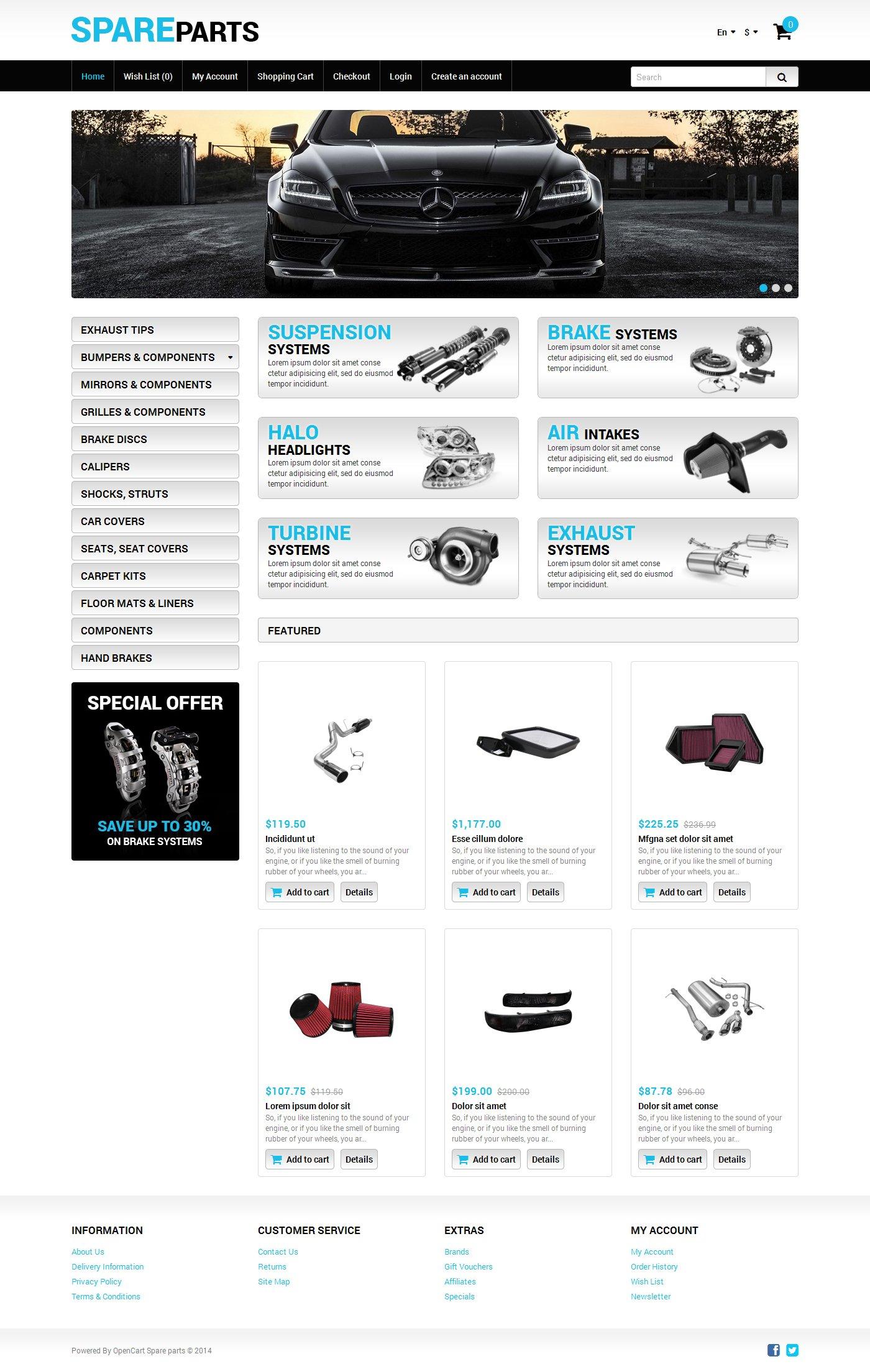 OpenCart Vorlage #49310 für Autoteile