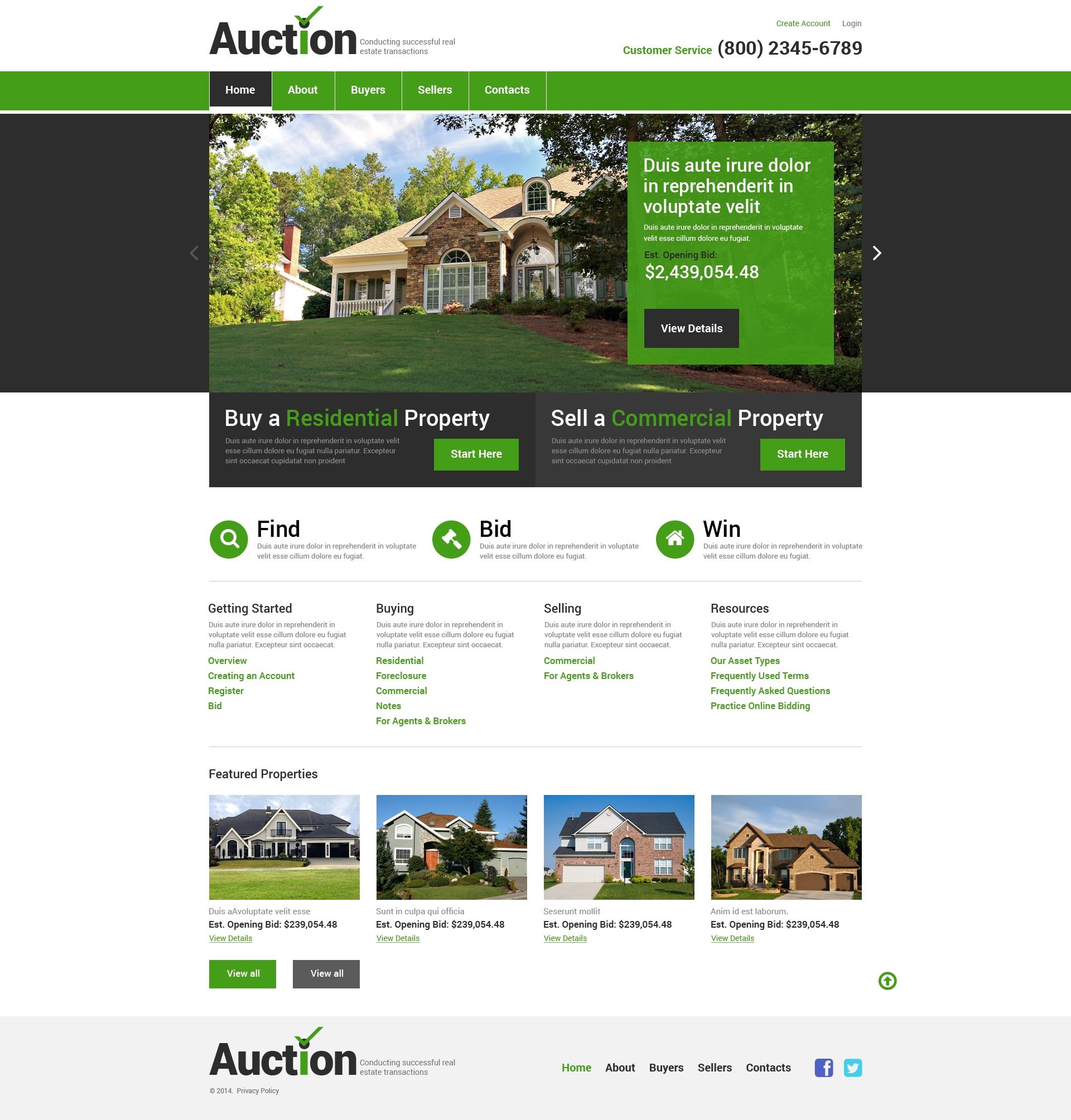 website vorlage 49332 f r immobilienagentur. Black Bedroom Furniture Sets. Home Design Ideas