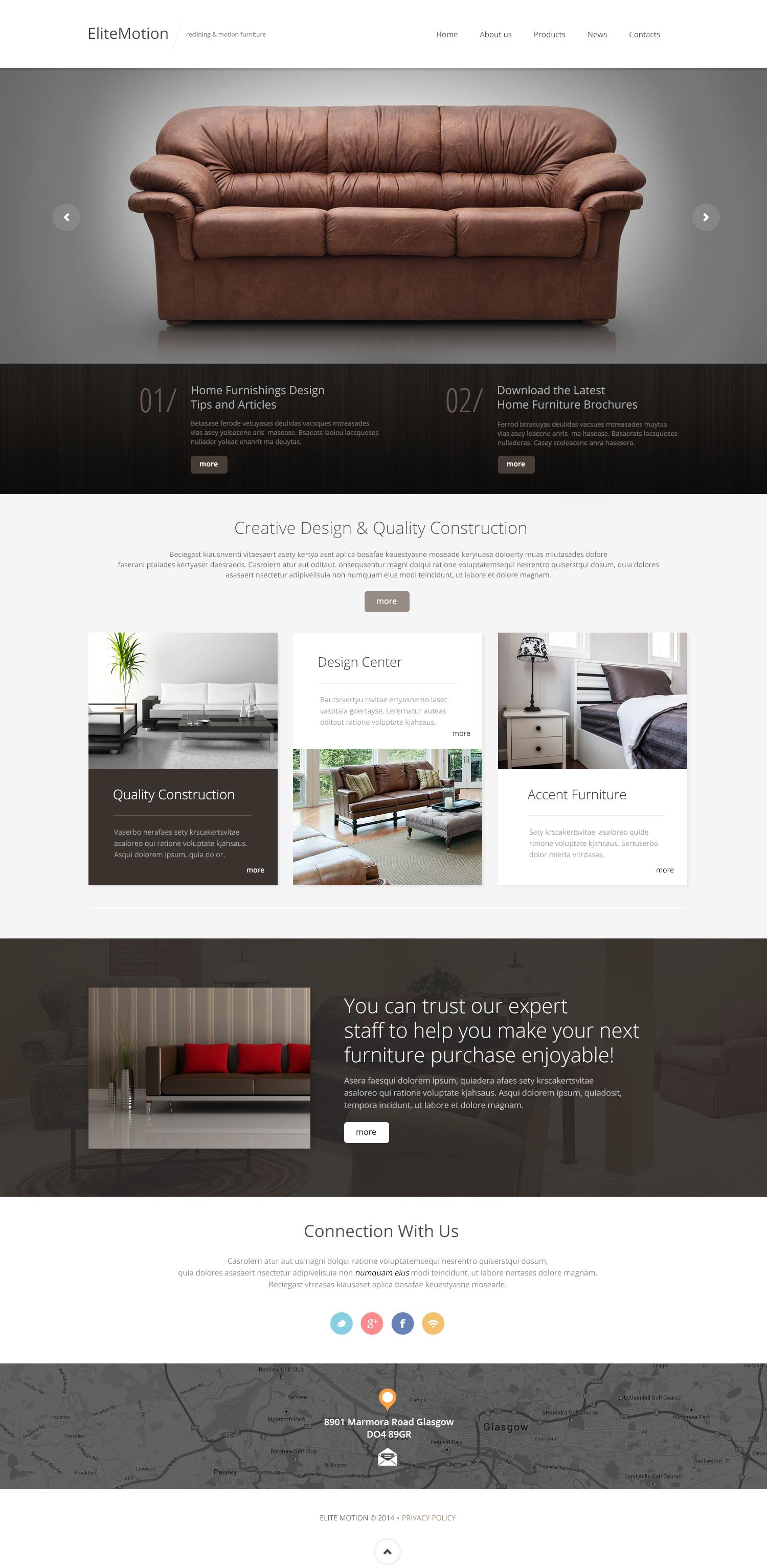 Responsive Website Vorlage für Möbel #49338