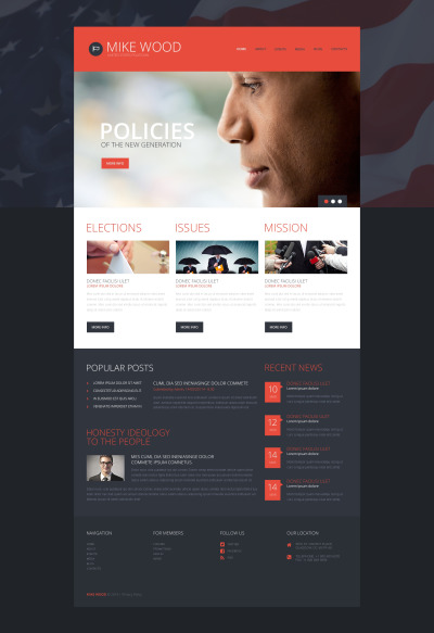 Responsywny motyw WordPress #49376 na temat: kandydat polityczny #49376