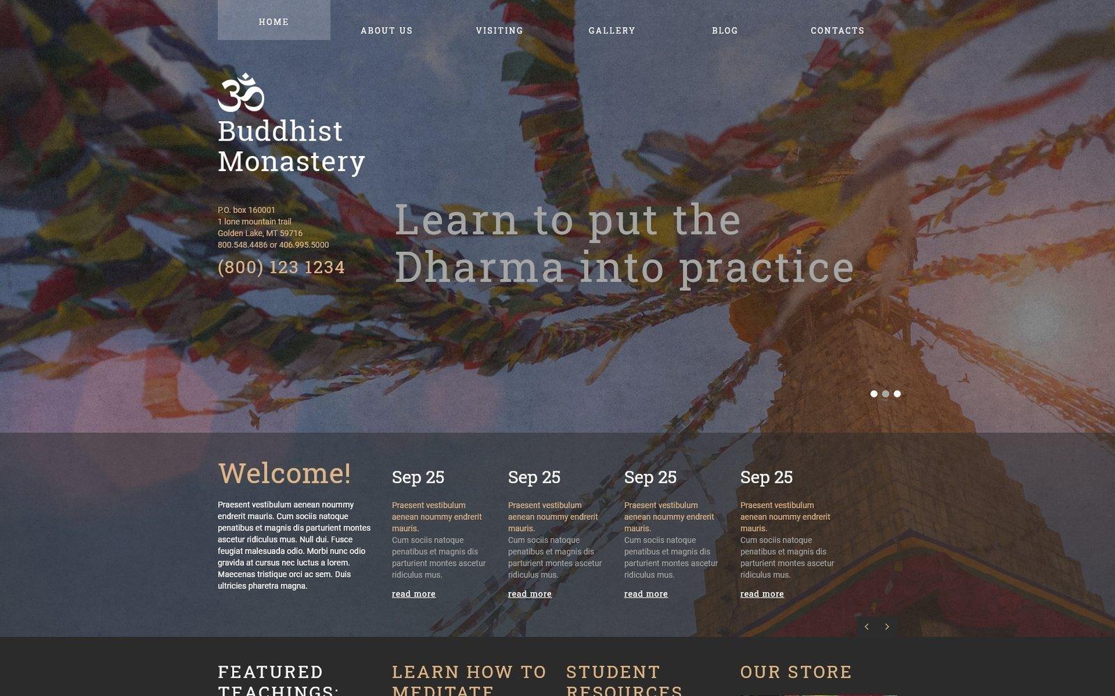 Responsywny szablon Joomla Buddhist Monastery #49342
