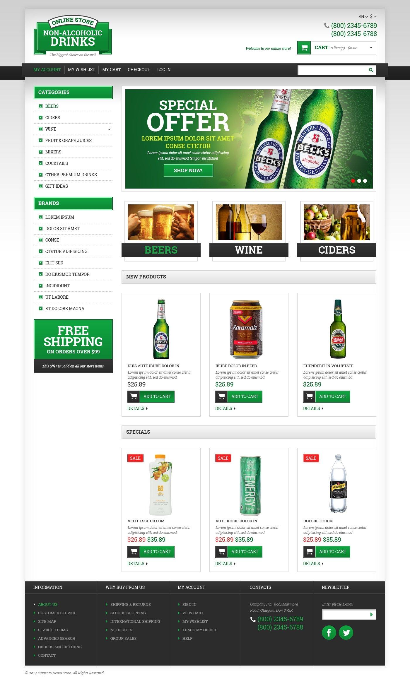 Responsywny szablon Magento #49364 na temat: wino - zrzut ekranu