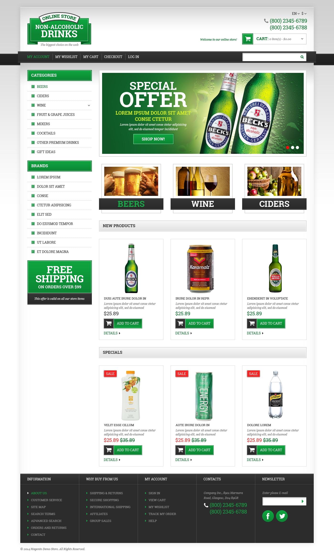 Reszponzív Bor témakörű Magento sablon 49364 - képernyőkép