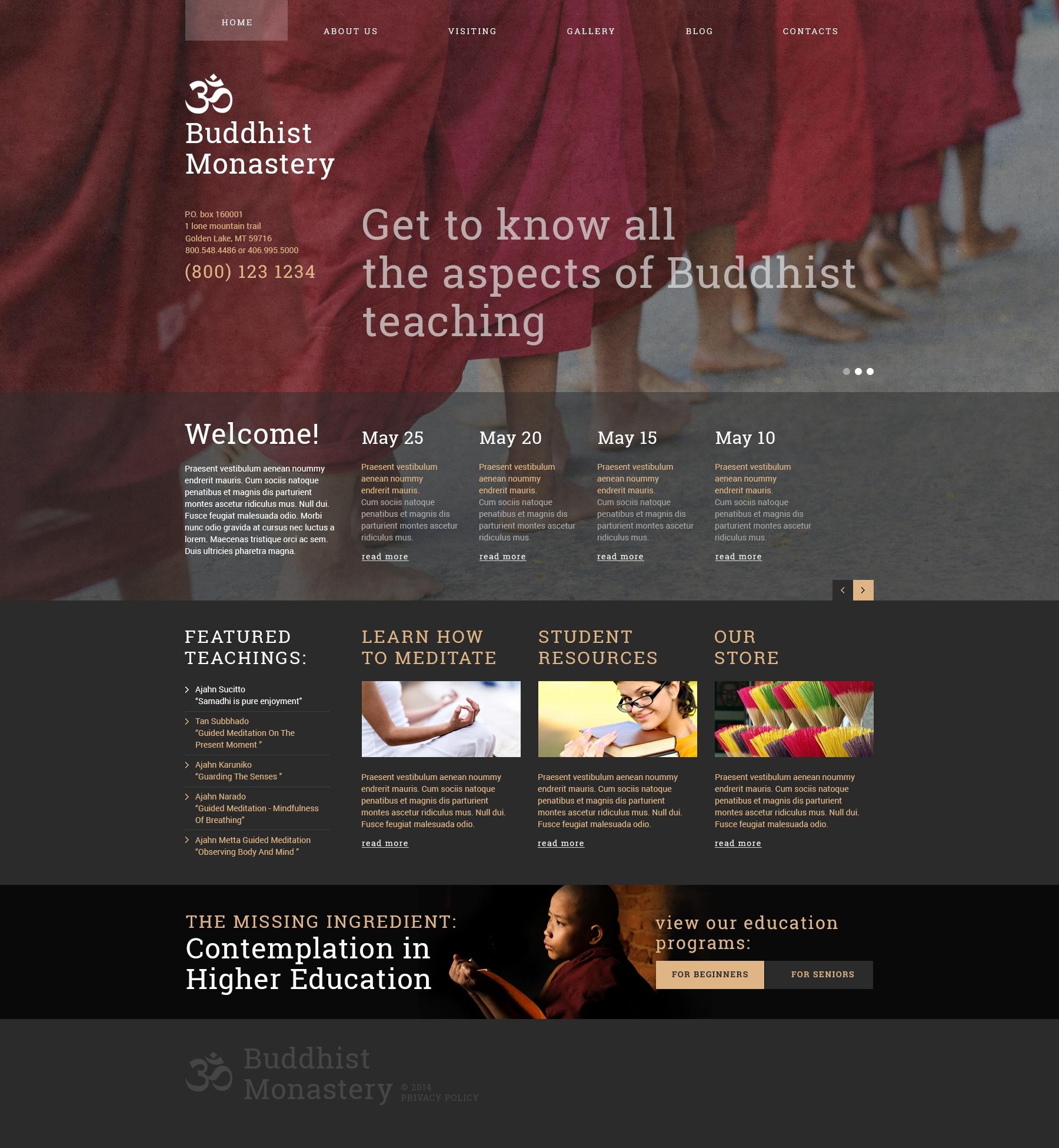 Reszponzív Buddhist Monastery Joomla sablon 49342