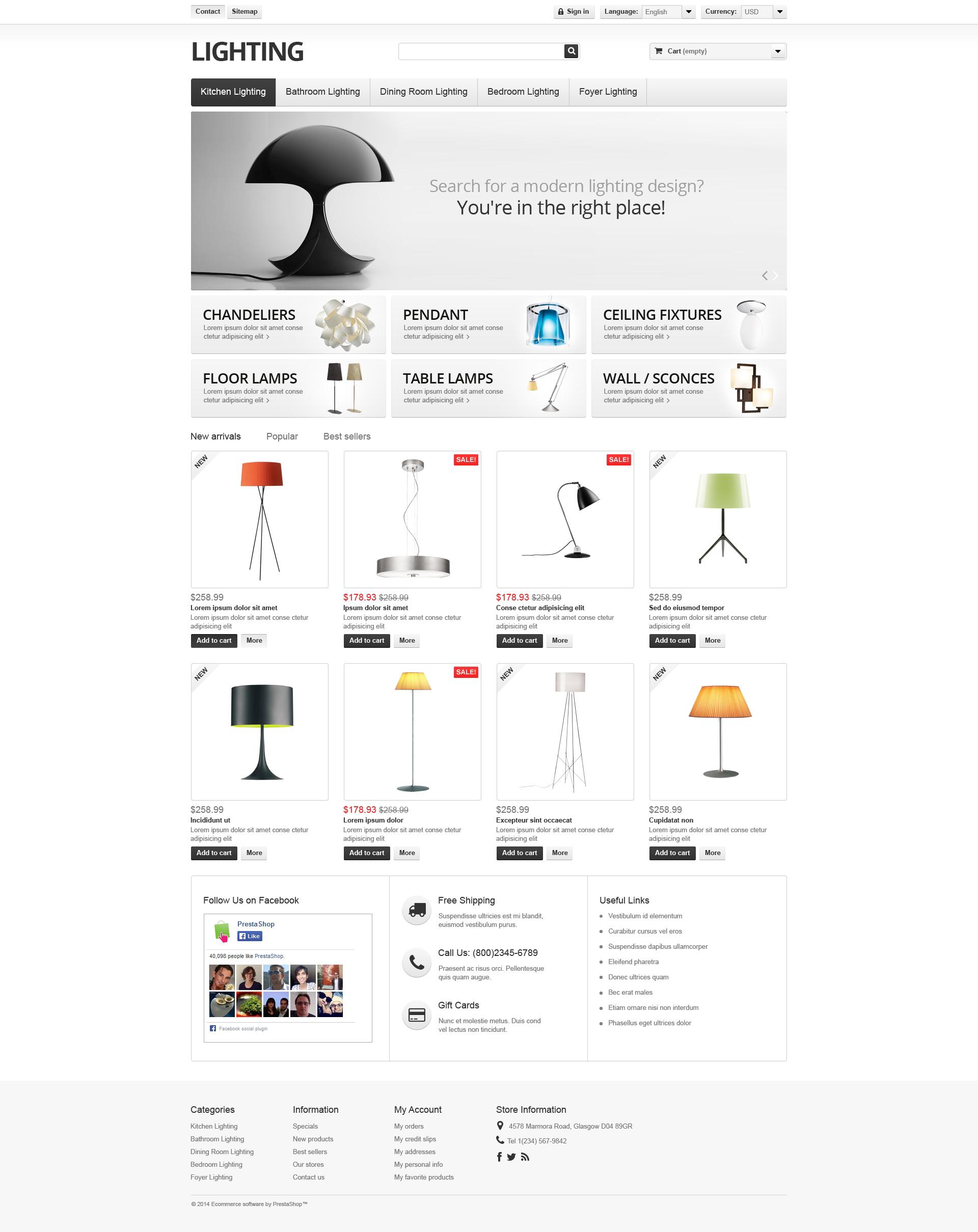 Reszponzív Lighting  Interior PrestaShop sablon 49395
