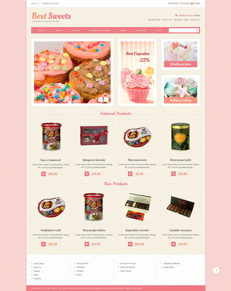 Sweets Store VirtueMart Template New Screenshots BIG
