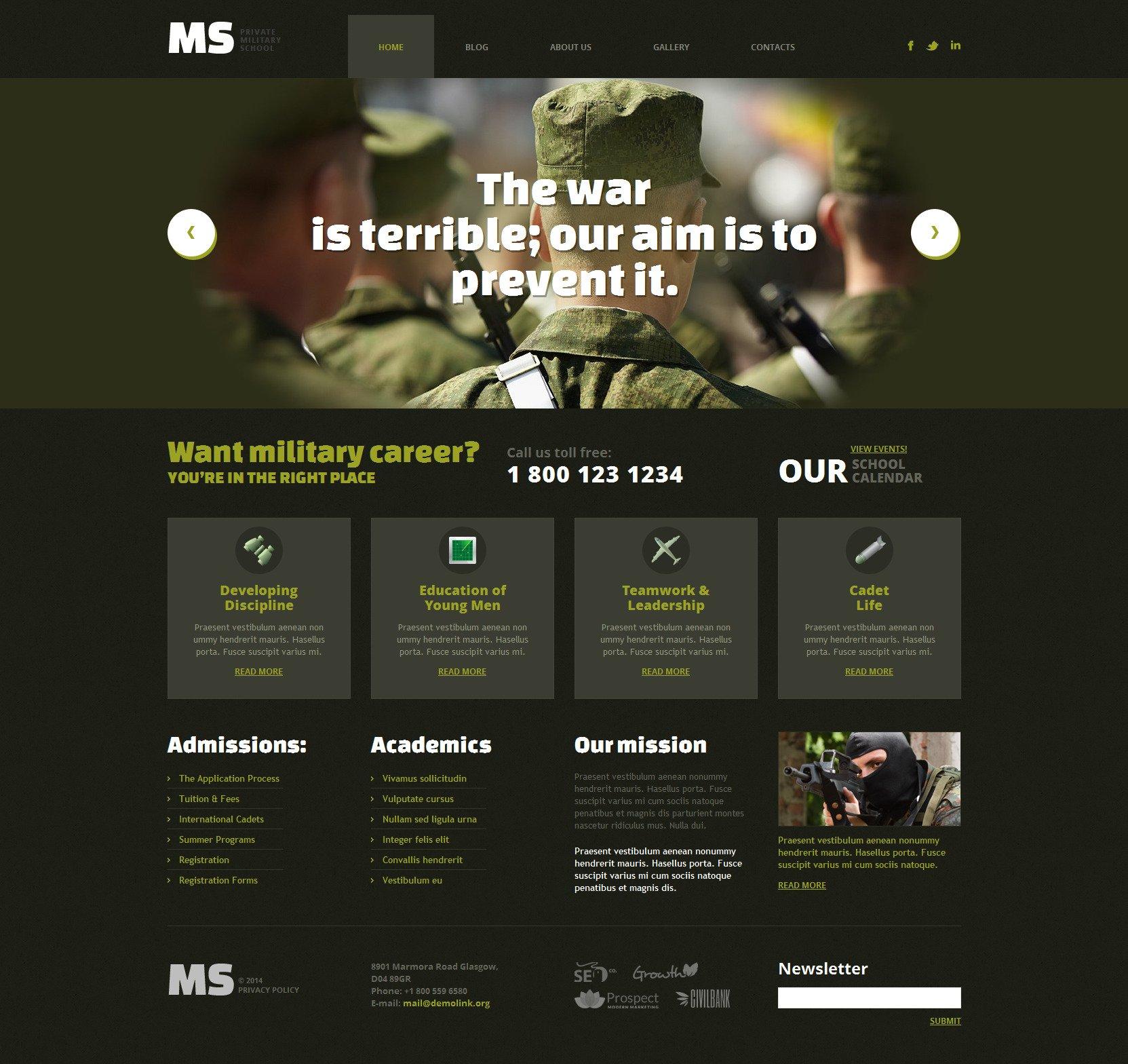 Tema De WordPress Responsive para Sitio de Sitios militares #49362