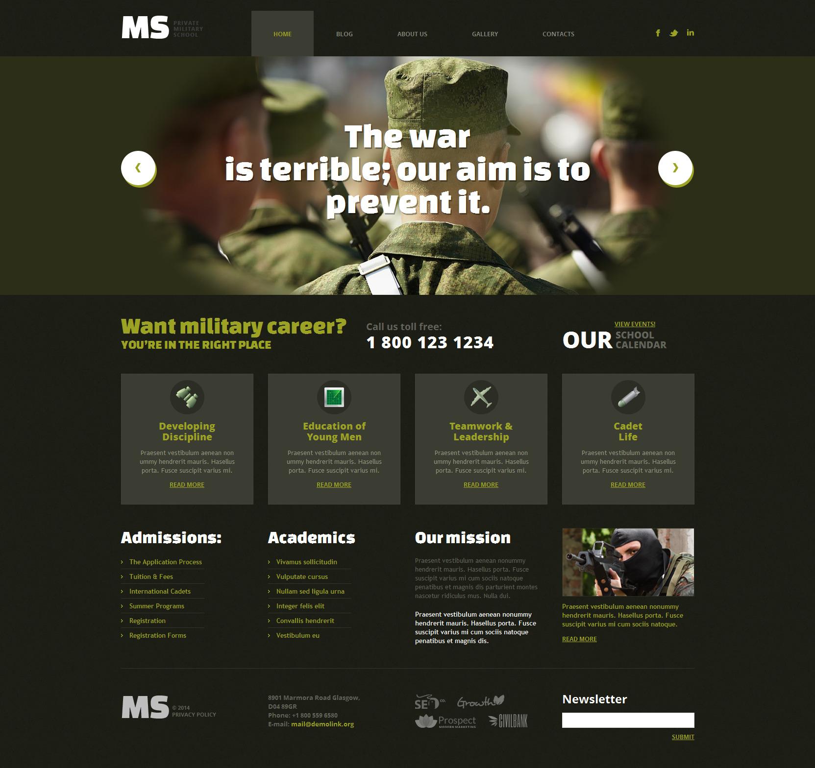 Tema WordPress Flexível para Sites de Militar №49362
