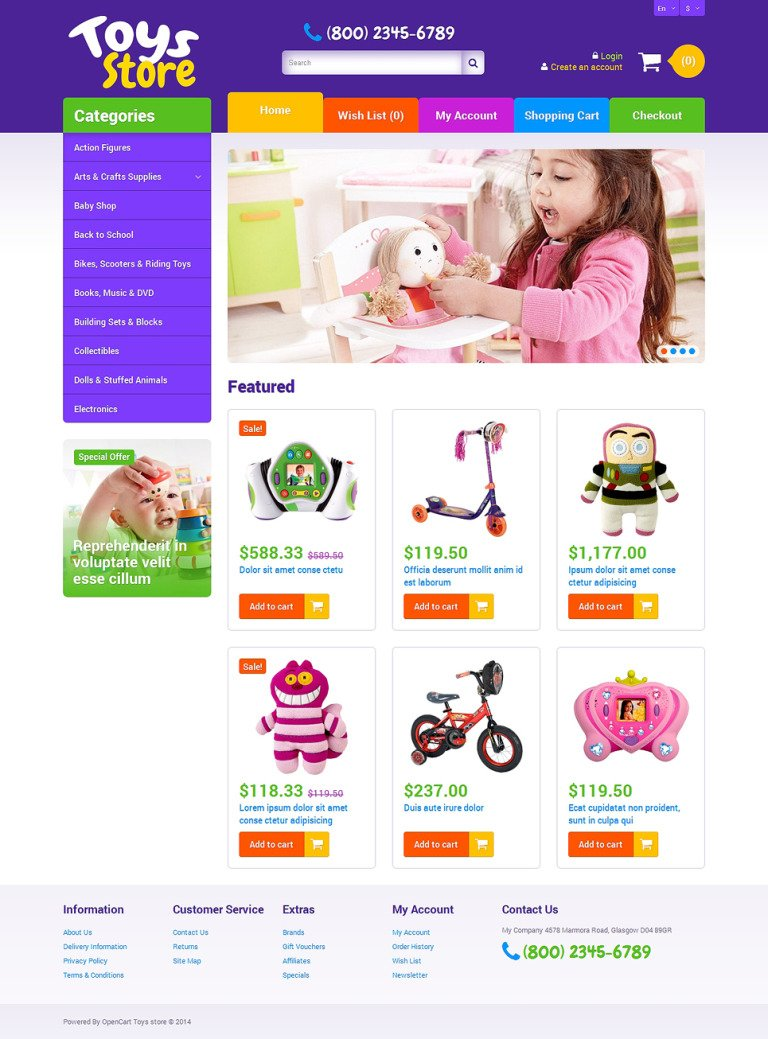Toys Store OpenCart Template New Screenshots BIG