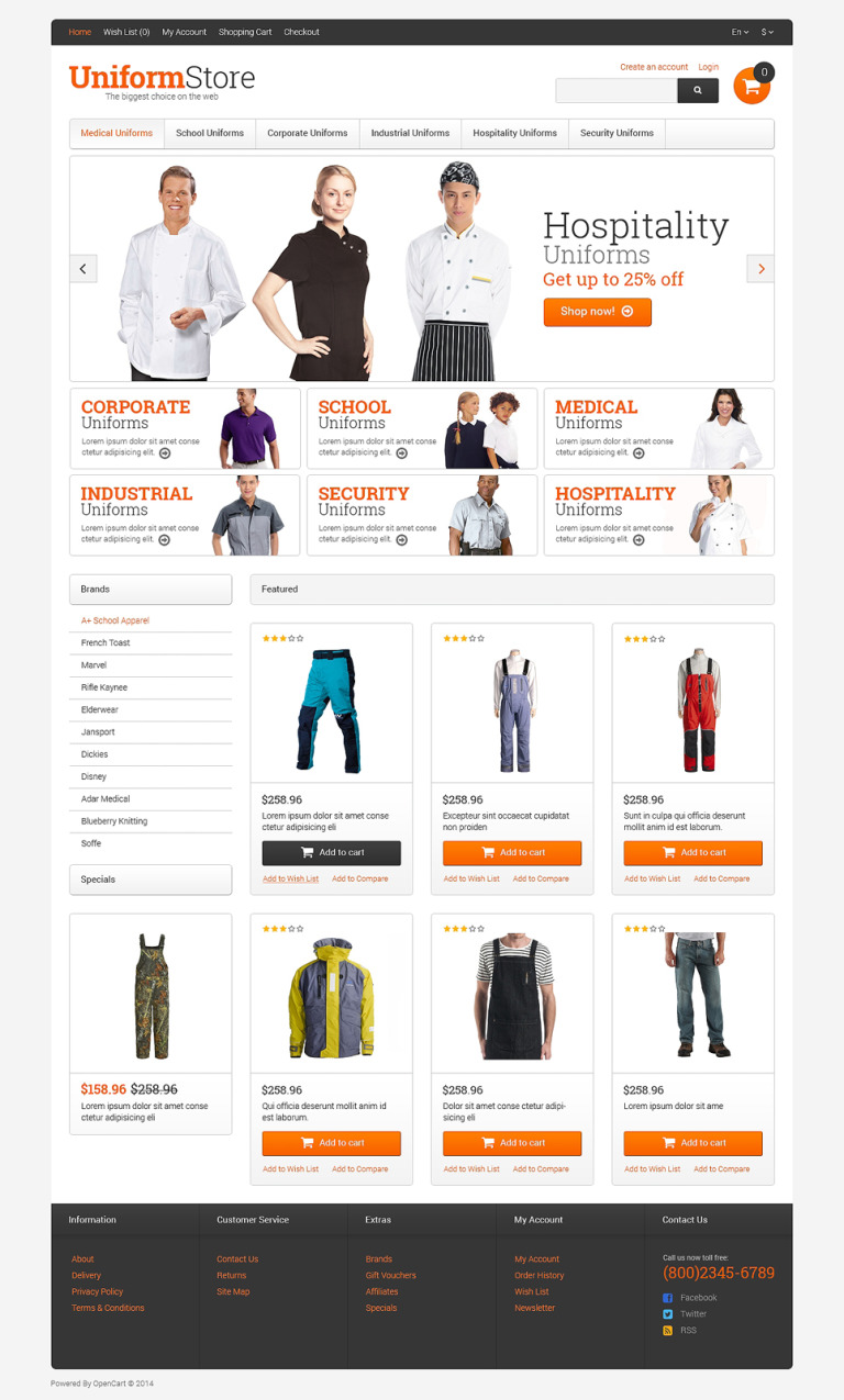 Uniform Store Responsive OpenCart Template New Screenshots BIG