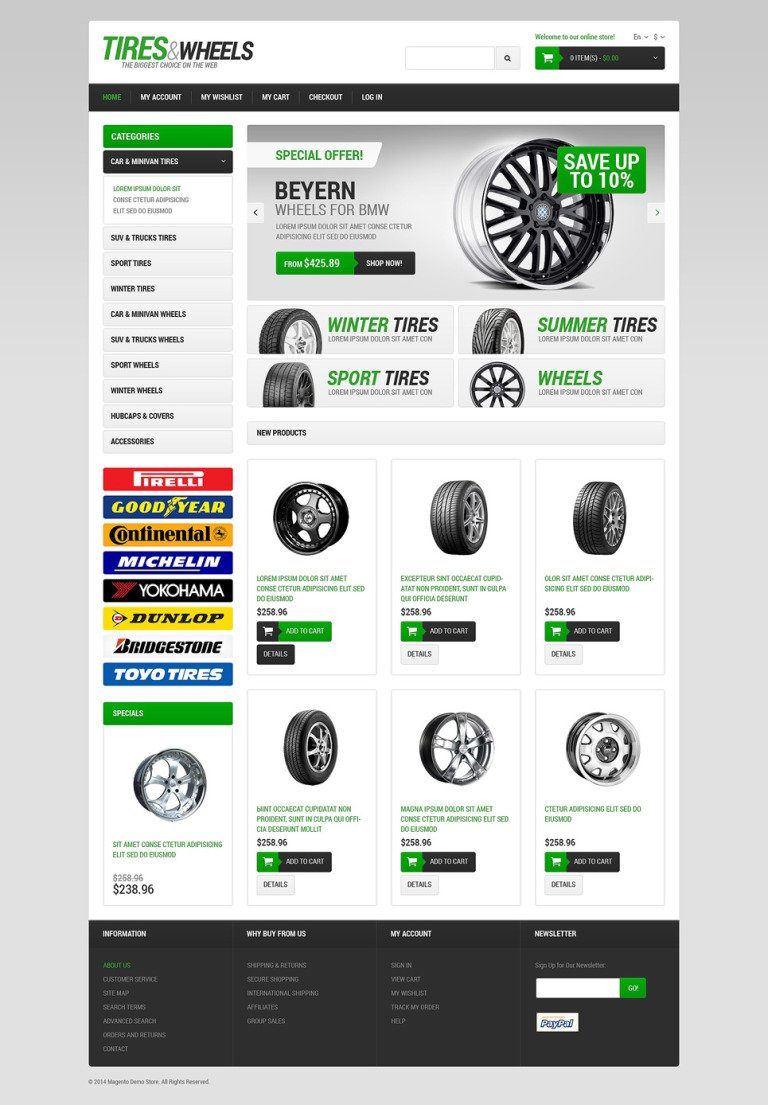 Wheels & Tires Responsive Magento Theme New Screenshots BIG