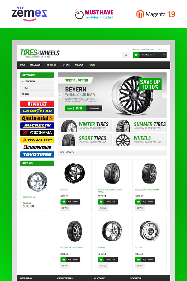 Wheels & Tires Responsive Magento Theme New Screenshots BIG