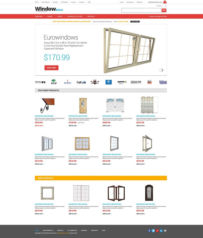Windows & Doors ZenCart Template New Screenshots BIG