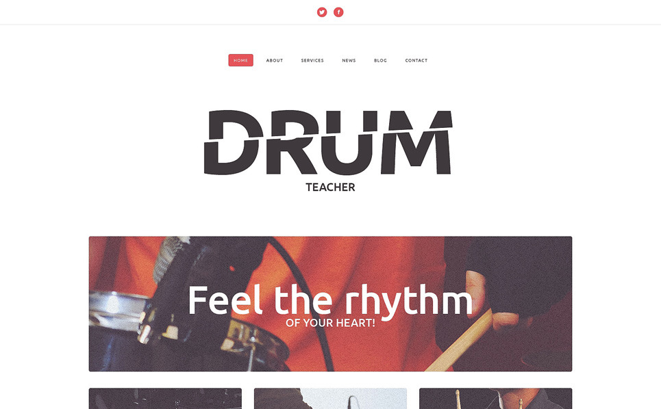 Responsive Website template over Muziekschool  New Screenshots BIG