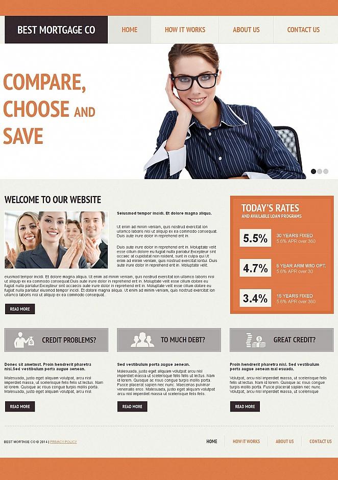 Mortgage Website Design on Orange Background - image