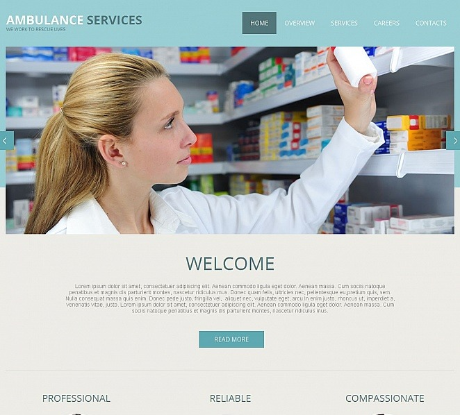 Tema Moto CMS HTML  #49428 per Un Sito di Ambulanza New Screenshots BIG