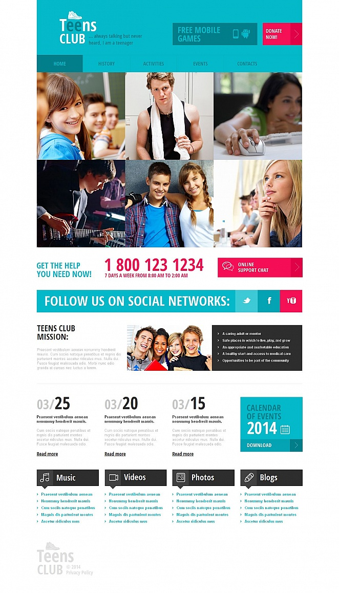 Teens Club Website Template with Colorful Design - image