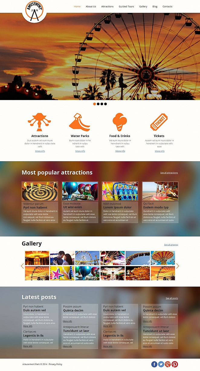 Amusement Park Website Design with Header Image - image