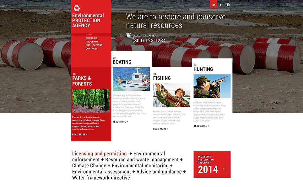 Адаптивний Шаблон сайту на тему охорона навколишнього середовища New Screenshots BIG
