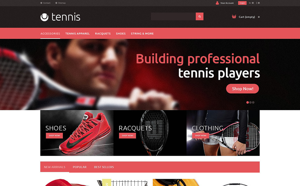 "PrestaShop Theme namens ""Tenniszubehör "" New Screenshots BIG"