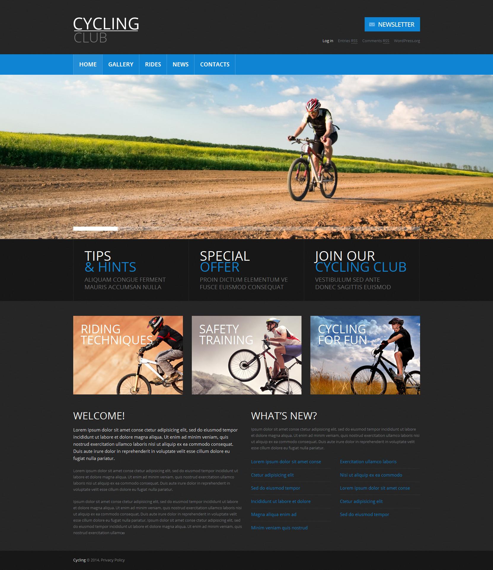 Адаптивний WordPress шаблон на тему велоспорт №49451