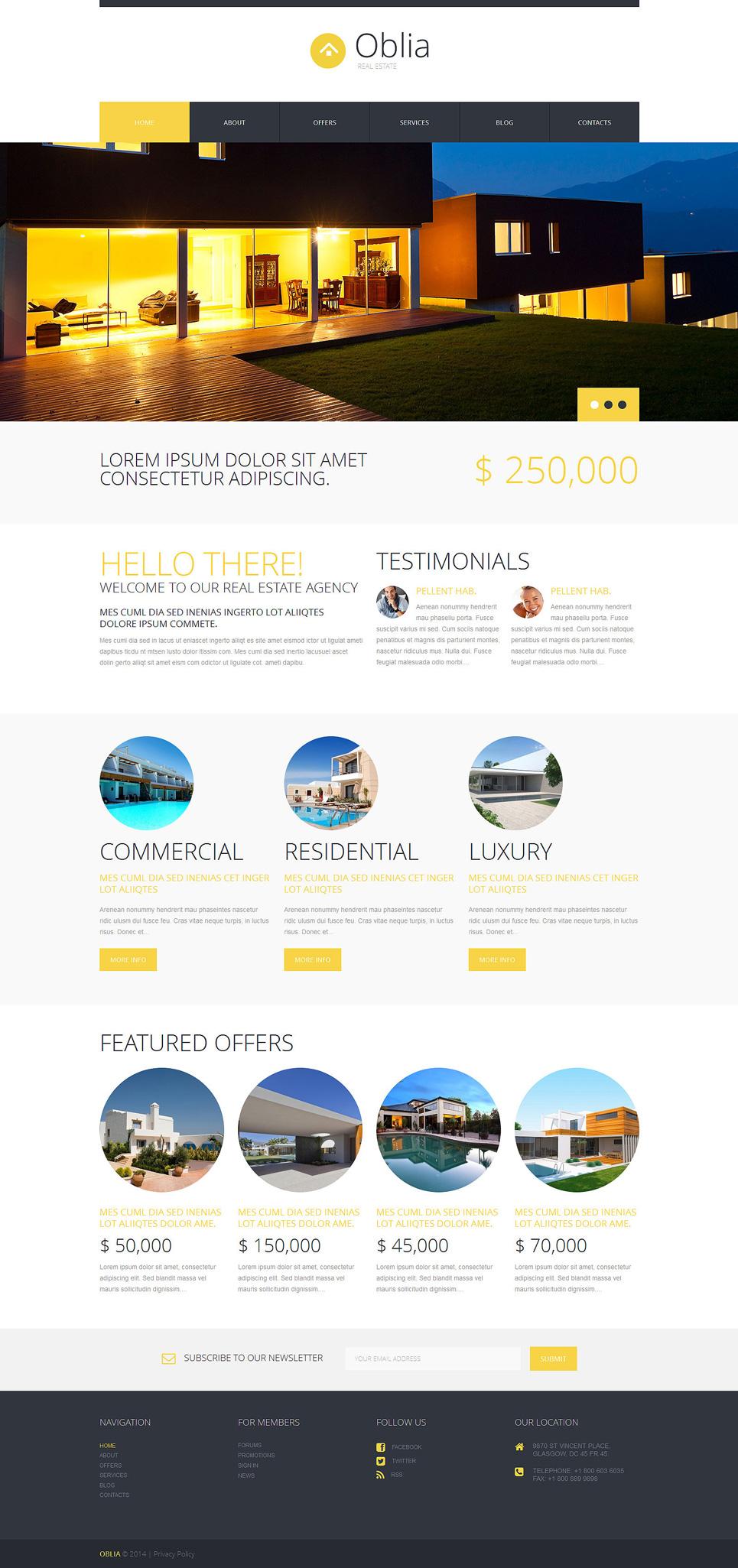 Адаптивный шаблон сайта на тему агентство недвижимости #49465