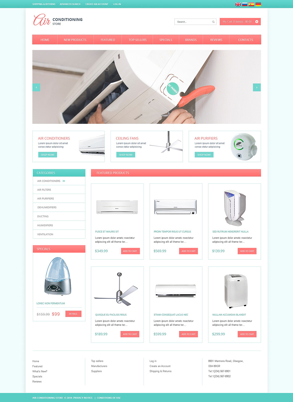 Air Conditioning OsCommerce Template New Screenshots BIG