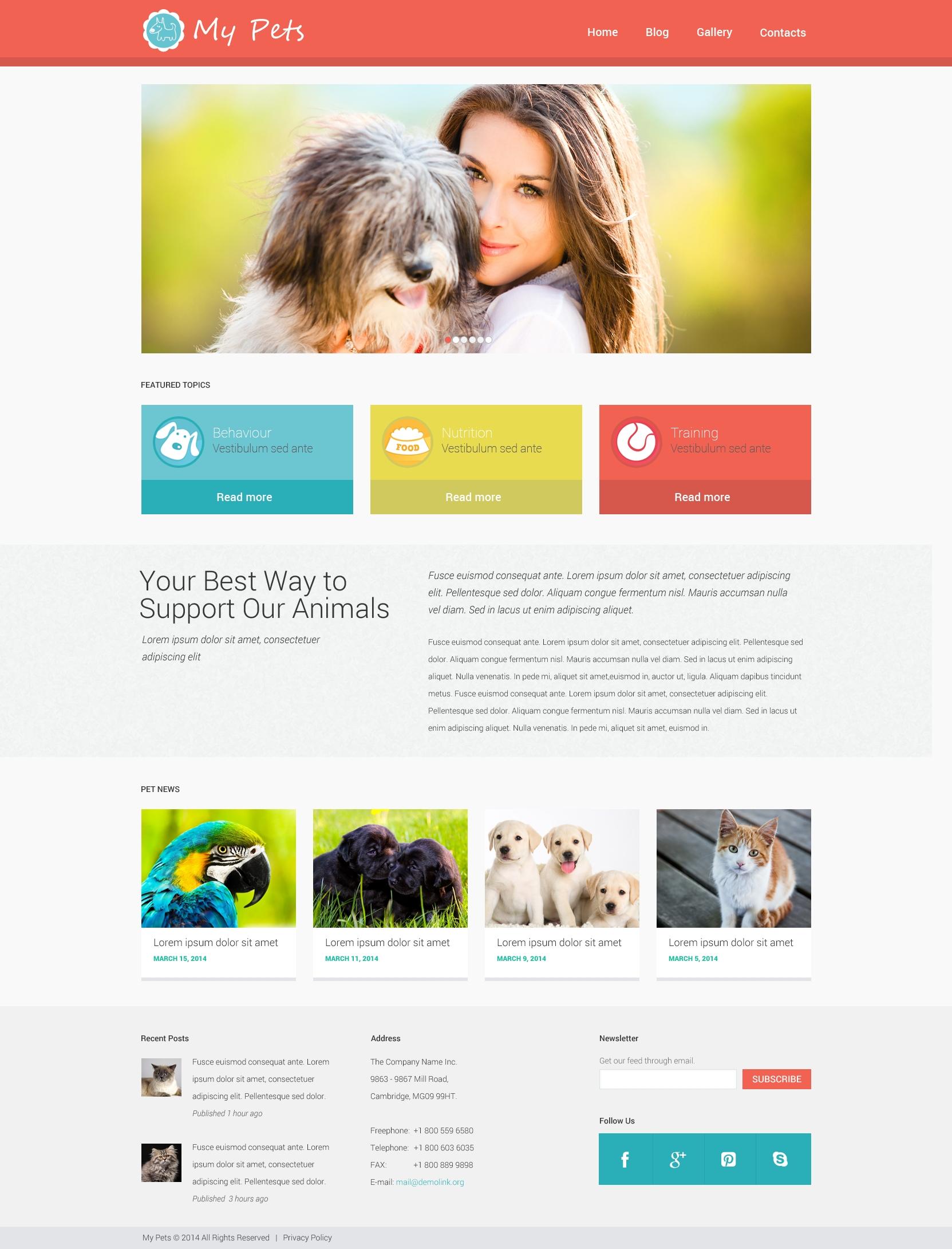 """""""Animal Planet"""" - адаптивний WordPress шаблон №49464"""