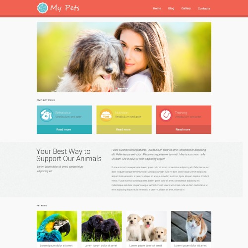 My Pets - WordPress Template based on Bootstrap