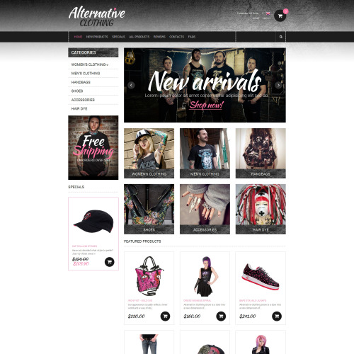 Alternative Clothing - HTML5 ZenCart Template
