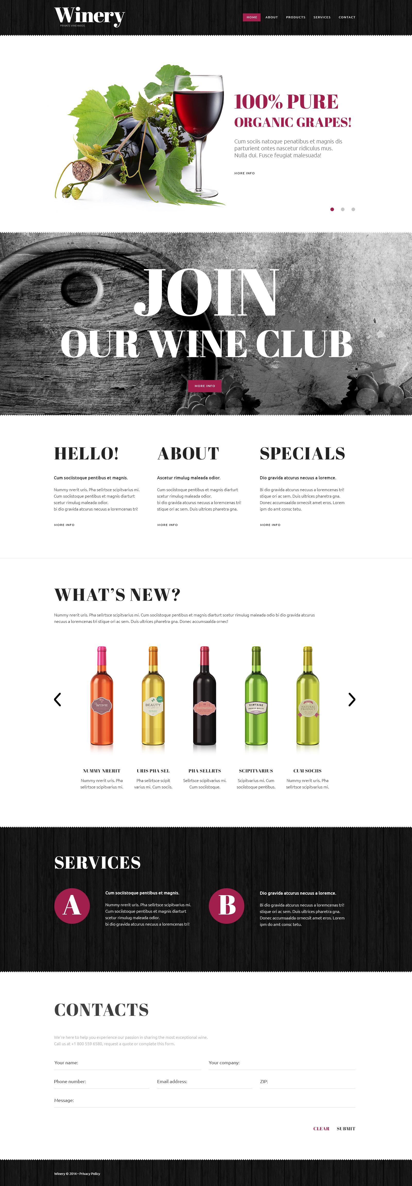Bootstrap Шаблон сайту на тему виноробство №49461