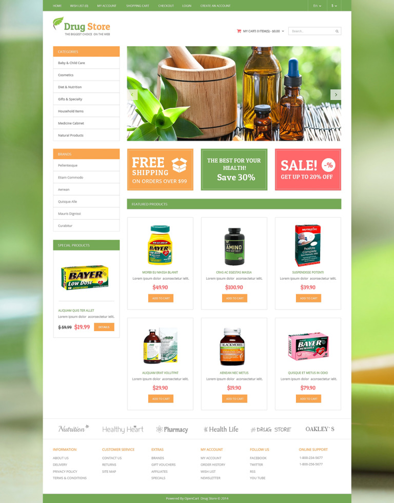 Drug Store OpenCart Template New Screenshots BIG