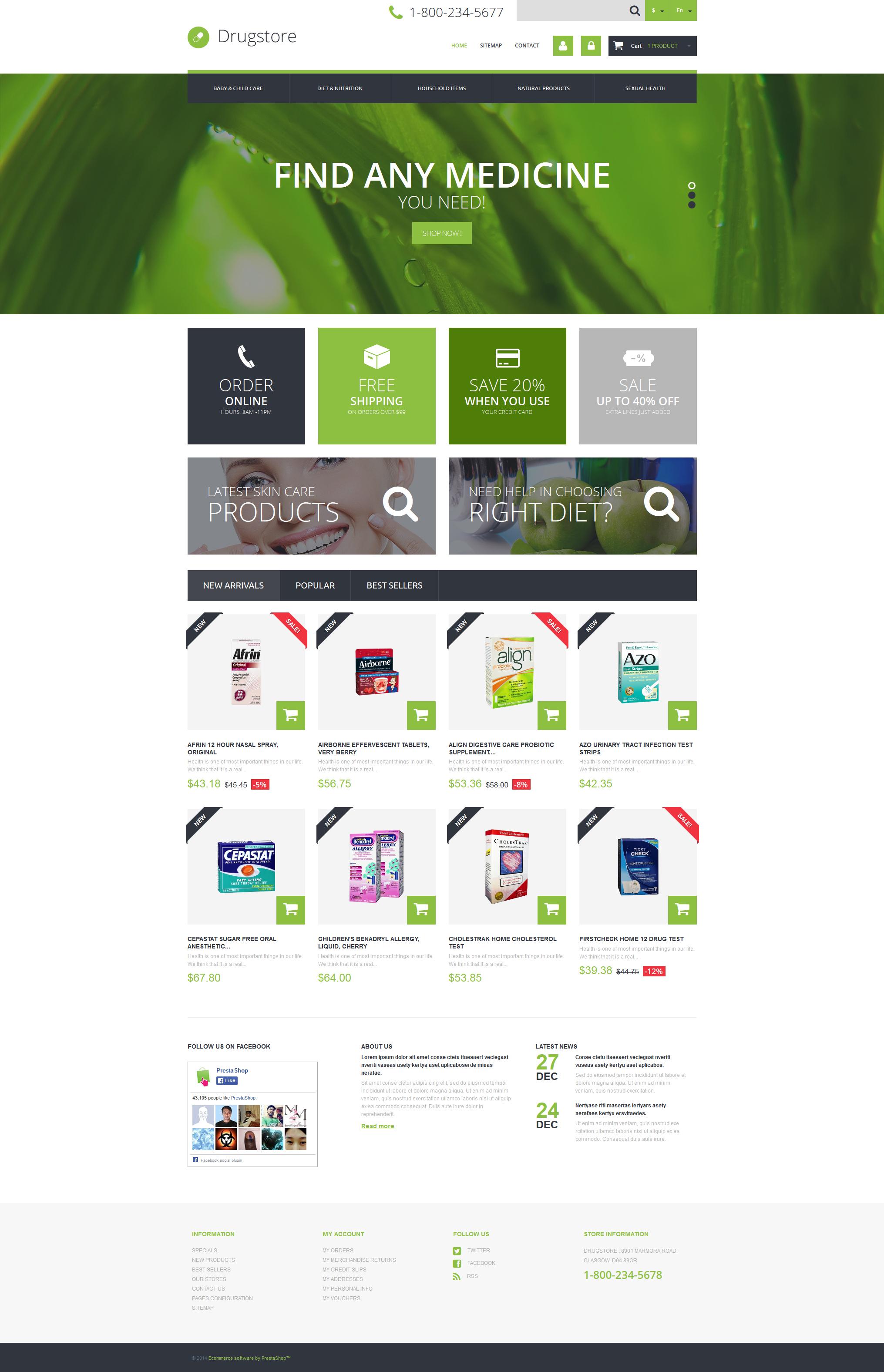 """E commerce de médecine"" thème PrestaShop adaptatif #49469 - screenshot"