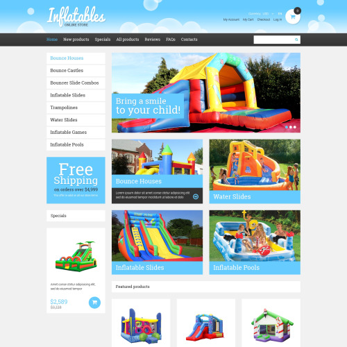 Inflatables - HTML5 ZenCart Template
