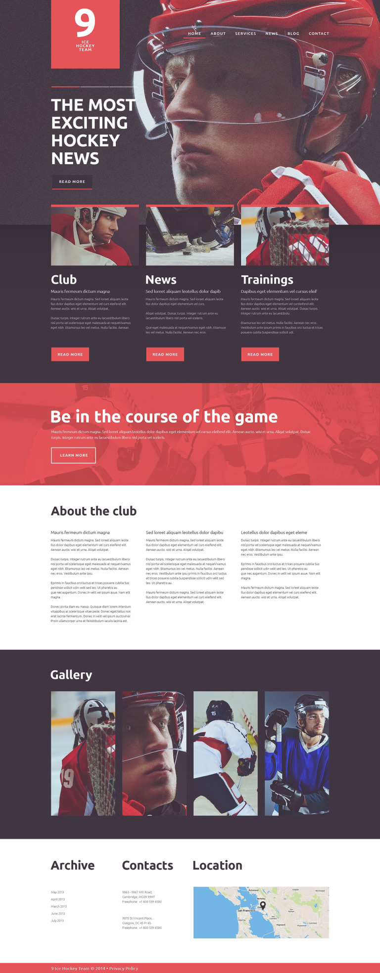 Ice Hockey Club Joomla Template New Screenshots BIG