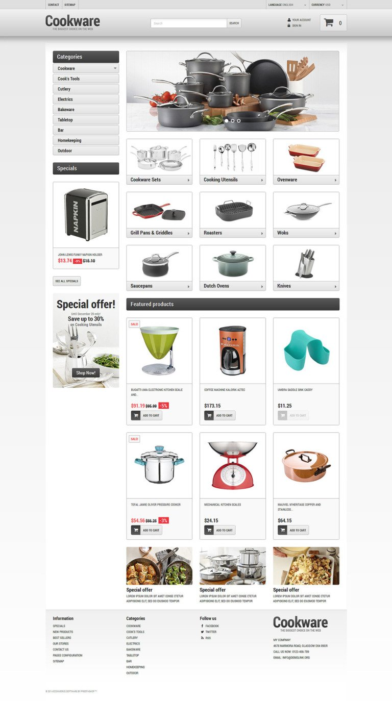 Kitchen Supplies Store Prestashop Theme #49456