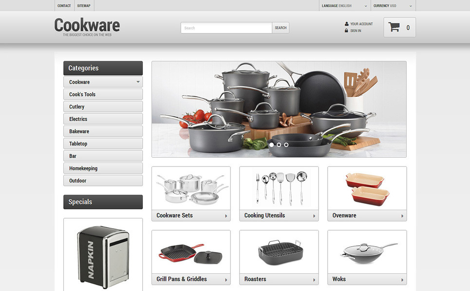 Kitchen Supplies Store Prestashop Theme 49456