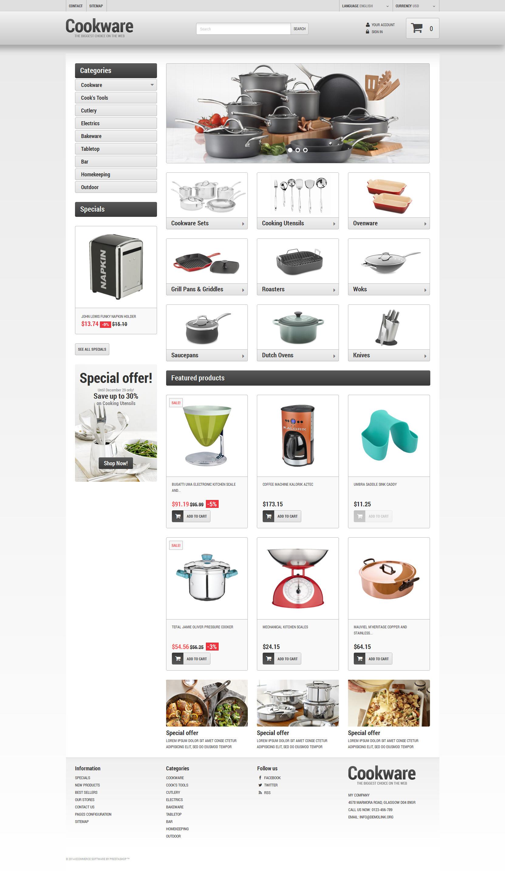 """Kitchen Supplies Store"" Responsive PrestaShop Thema №49456"