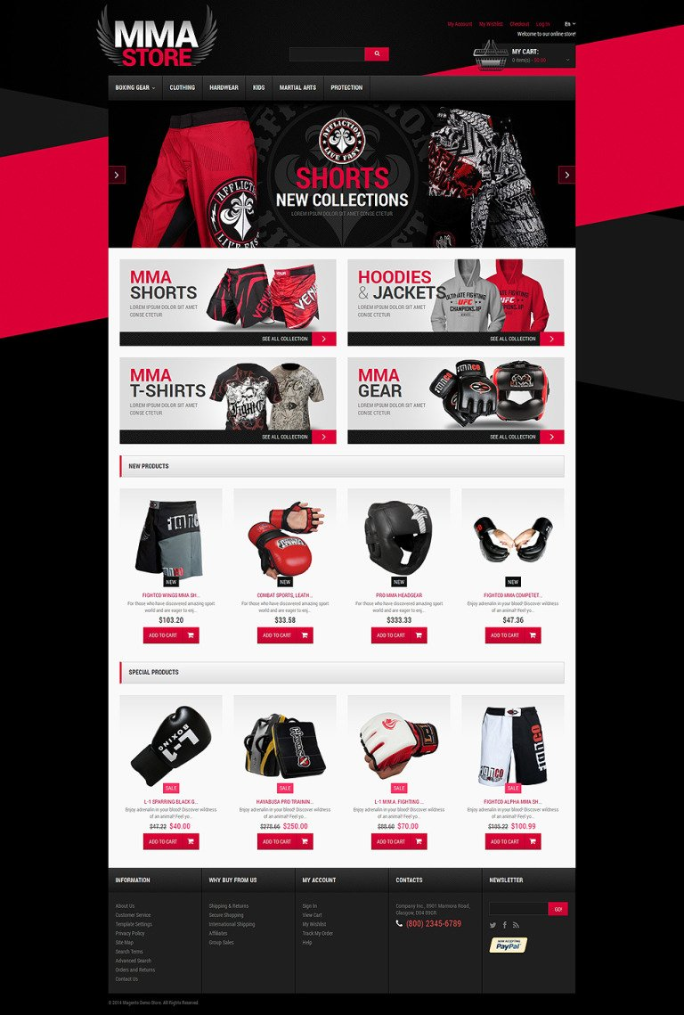 Martial Arts Responsive Magento Theme New Screenshots BIG