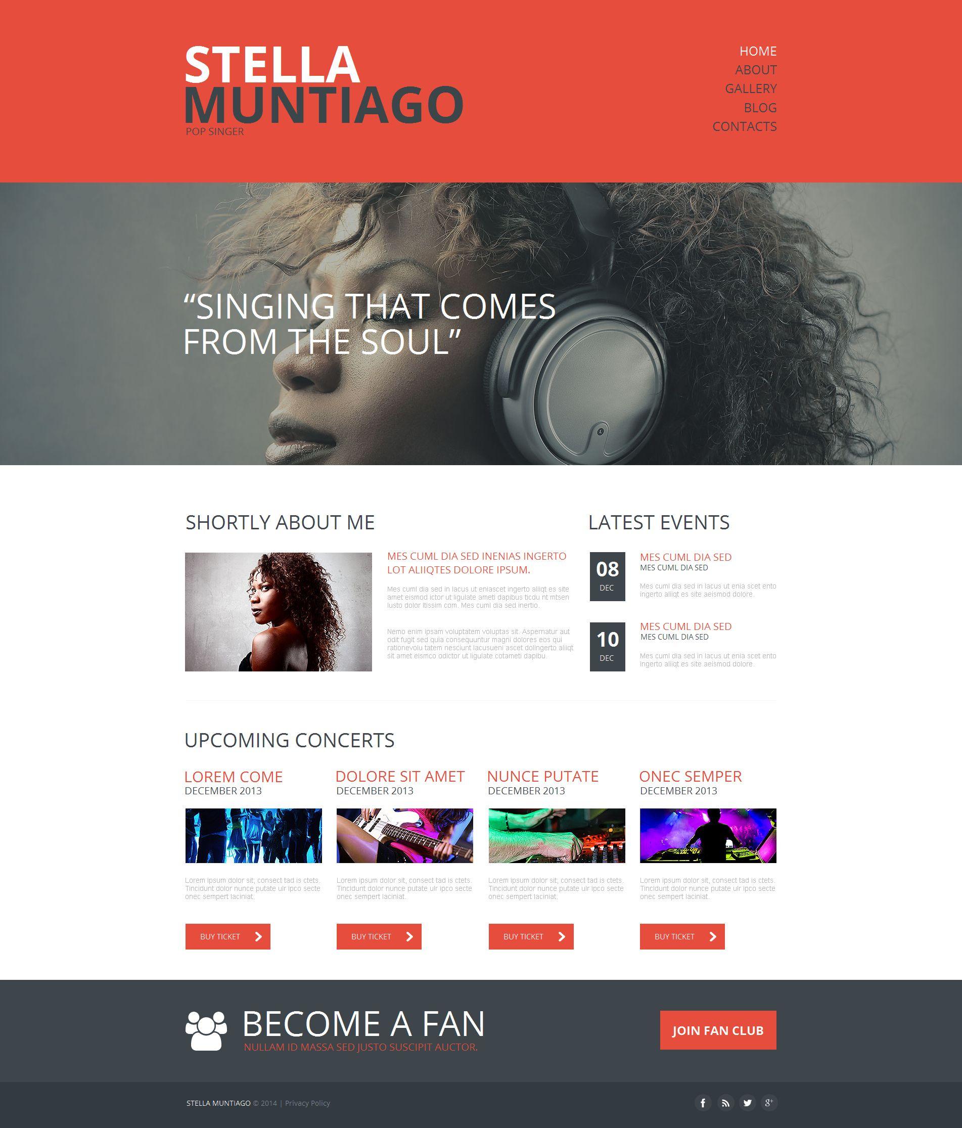 Modèle Moto CMS HTML Premium pour site de chanteur #49430