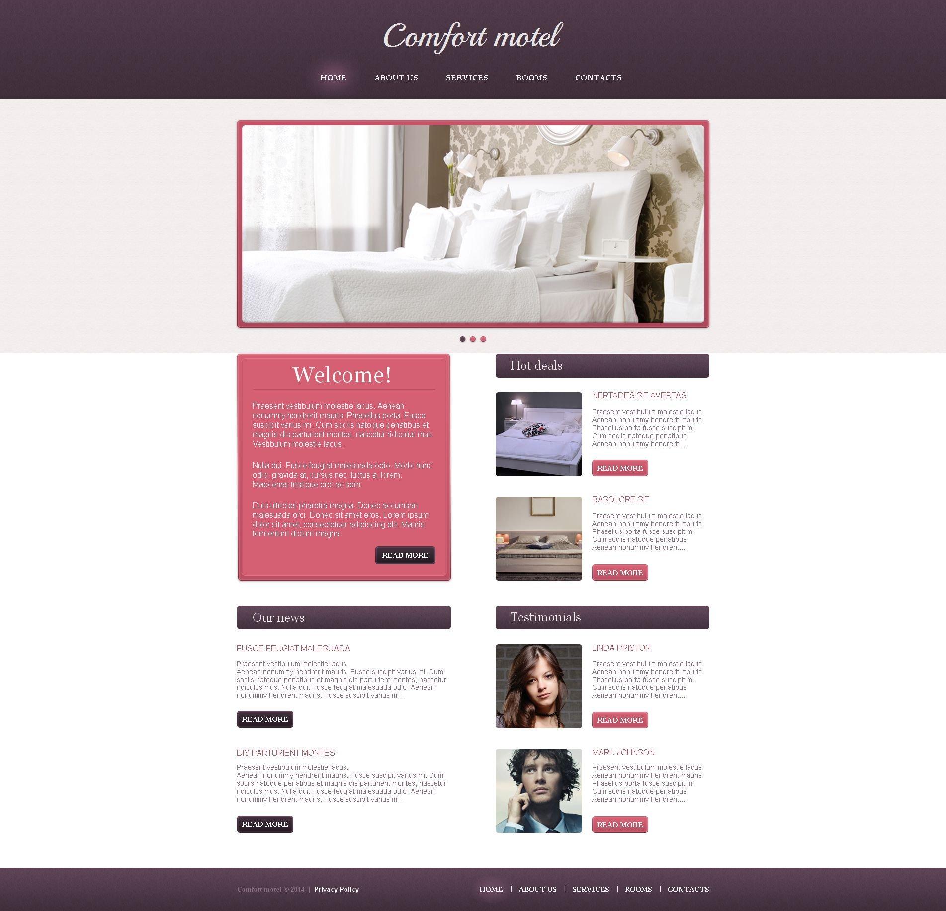 Modèle Moto CMS HTML Premium pour site de motel #49427