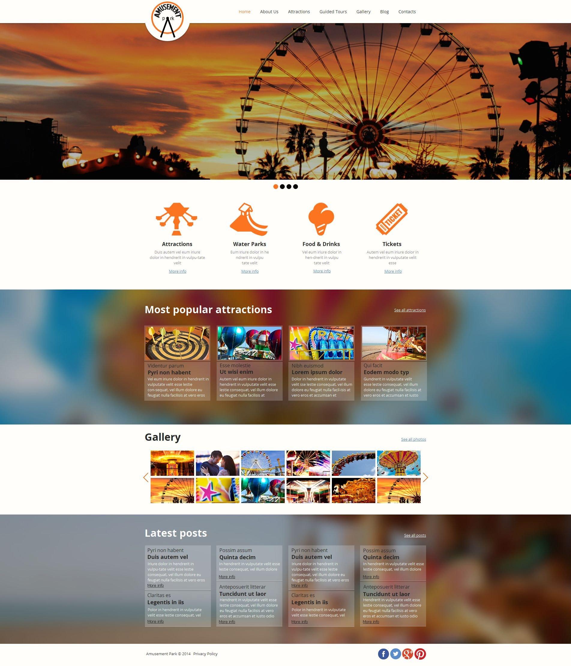 Modèle Moto CMS HTML Premium pour site de parc d'attractions #49439