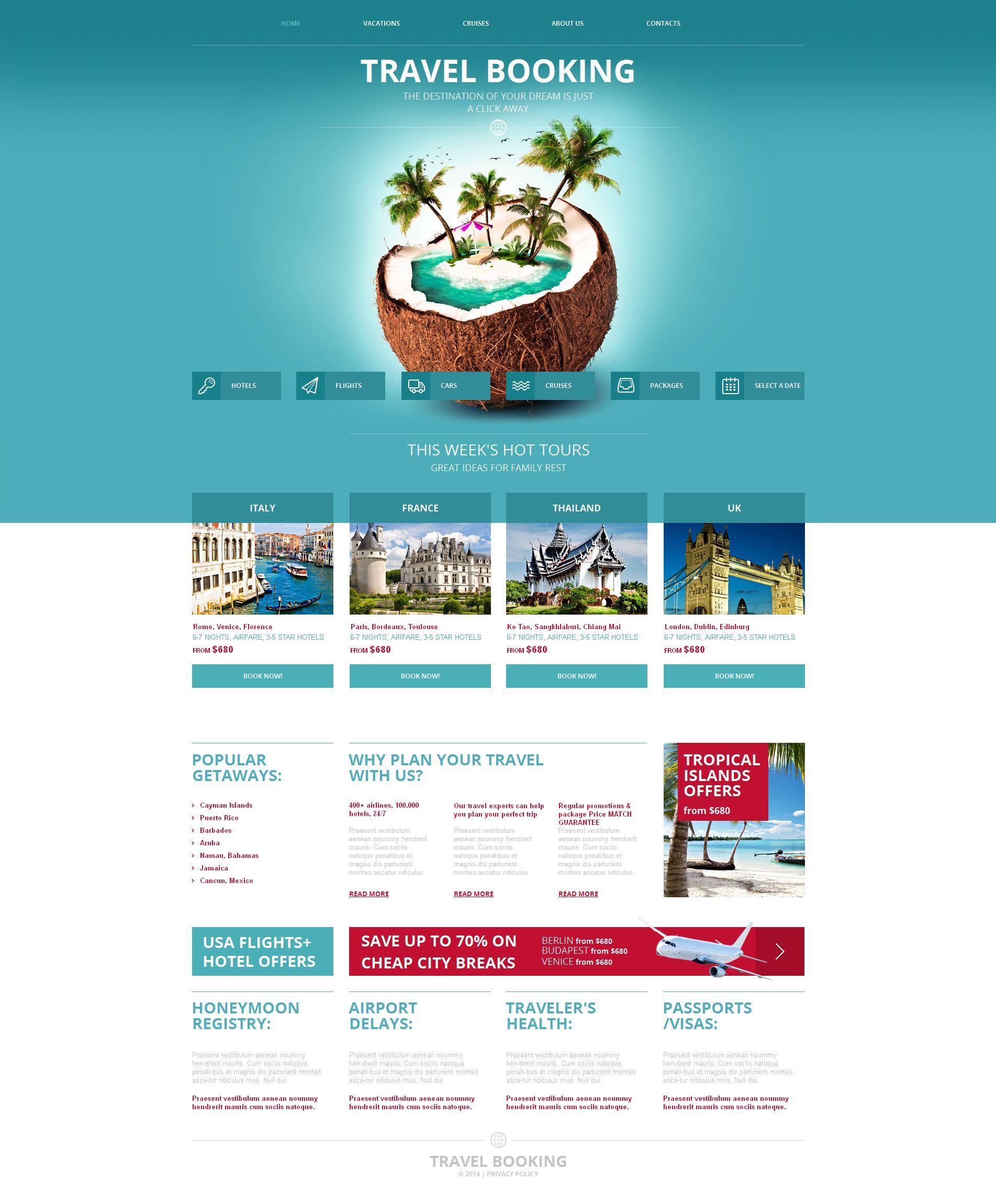 Moto CMS HTML Vorlage #49437 für Reisebüro