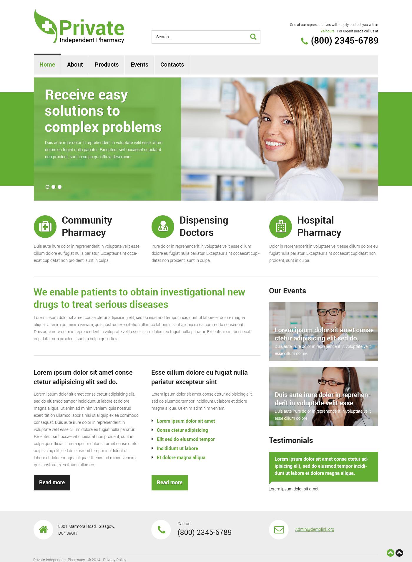 Plantilla Web Responsive para Sitio de Farmacias #49443