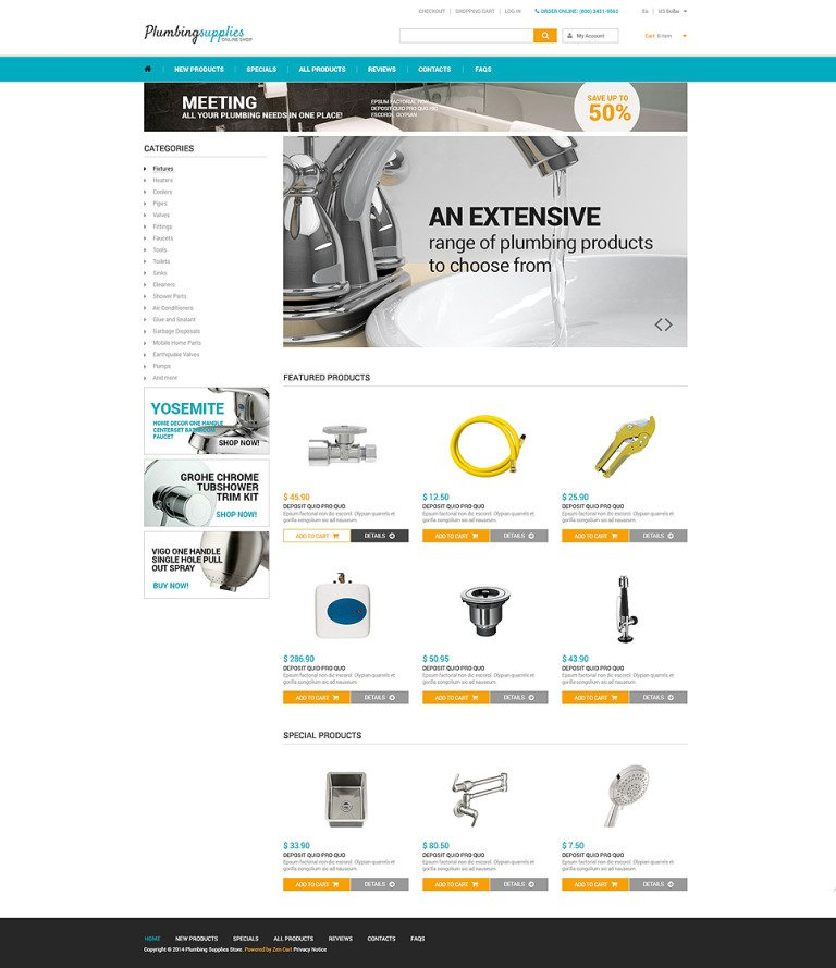 Plumbing ZenCart Template New Screenshots BIG